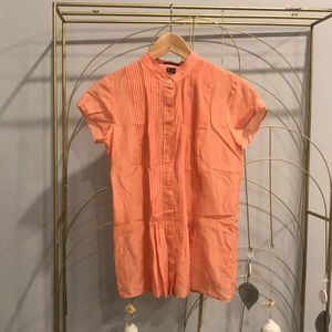 Theory peach color short sleeve button up blouse